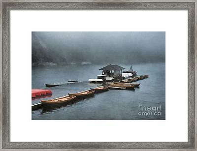 Foggy Morning At The Lake  Framed Print by Judy Palkimas