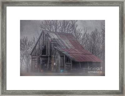 Foggy Morning Backroads Framed Print