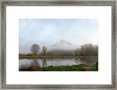 Foggy Morning Bluff Framed Print
