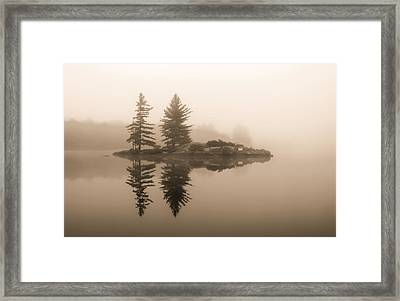 Foggy Morning Caution Framed Print