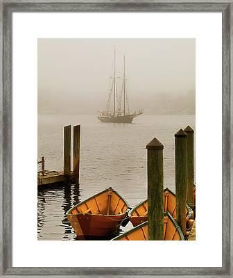 Foggy Morning In Gloucester Ma Framed Print