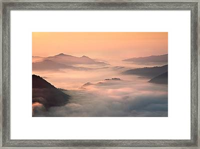 Foggy Morning In The Mountains Framed Print