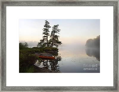Foggy Morning On The Kawishiwi River Framed Print by Larry Ricker