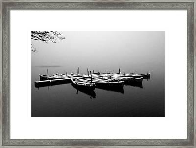 Foggy Morning On West Lake Framed Print
