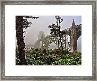 A Foggy Morning On Yaquina Bay Framed Print