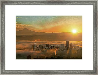 Foggy Morning Over Portland Cityscape During Sunrise Framed Print by David Gn