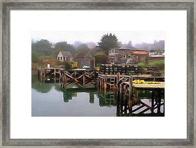 Foggy Morning With Bouys Framed Print by Judy Coggin