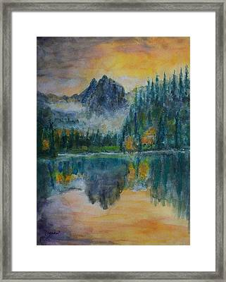 Foggy Mountain Lake Framed Print by David Frankel