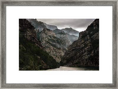Foggy Mountains Over Neretva Gorge Framed Print