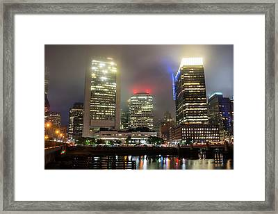 Foggy Night In Boston Ma Framed Print by Toby McGuire