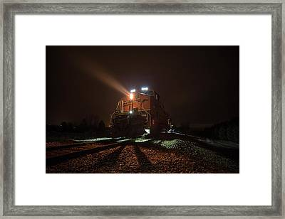 Framed Print featuring the photograph Foggy Night Train  by Aaron J Groen