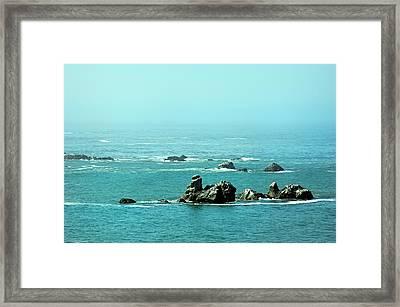 Sunny Blue Pacific Ocean Along The Oregon Coast Framed Print
