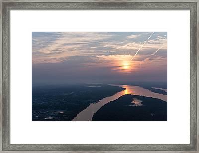 Foggy Pink Sunrise Over The Ottawa River Framed Print by Georgia Mizuleva