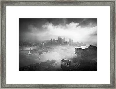 Framed Print featuring the photograph Foggy Pittsburgh  by Emmanuel Panagiotakis