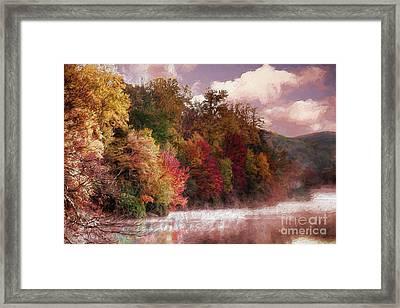 Foggy Price Lake - Autumn In The Blue Ridge Ap Framed Print by Dan Carmichael