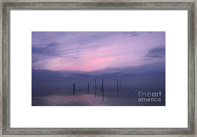 Foggy Purple Haze Sunset Framed Print