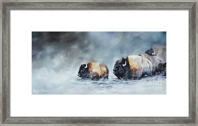 Foggy River Crossing Framed Print