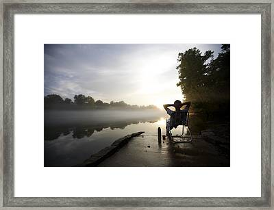 Foggy Riverside Landscape At Sunset Framed Print by Gillham Studios
