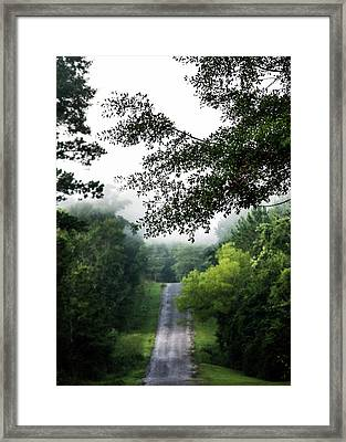 Framed Print featuring the photograph Foggy Road To Eternity  by Shelby Young