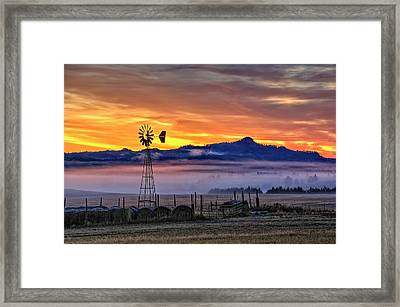 Foggy Spearfish Sunrise Framed Print