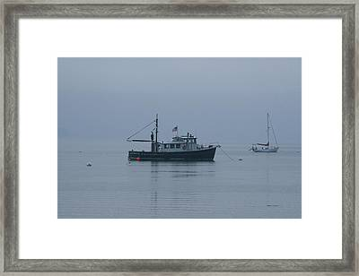 Foggy Start To The Day Penobscot Bay Maine Framed Print by Brian M Lumley
