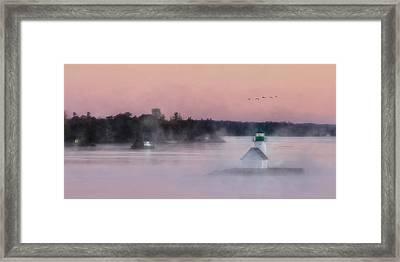 Foggy Sunken Rock Framed Print