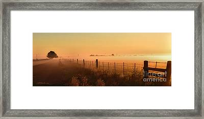 Foggy Sunrise On Hawkins Rd Framed Print