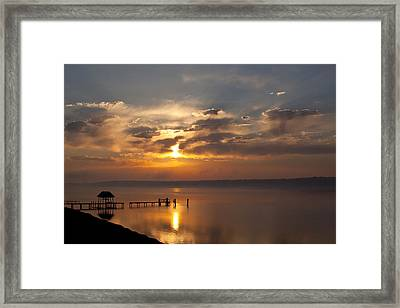 Foggy Sunrise On The James Framed Print by Barbara Houston