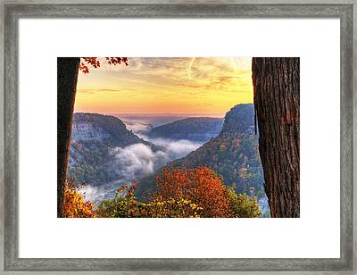 Foggy Sunrise Over Letchworth State Park In New York Framed Print