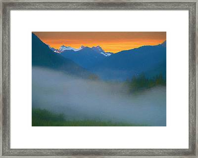 Foggy Sunrise Over The North Cascades Framed Print by Dan Sproul