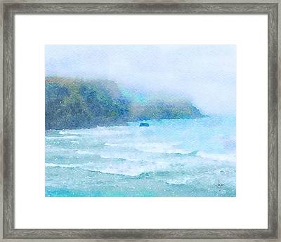 Framed Print featuring the painting Foggy Surf by Angela Treat Lyon