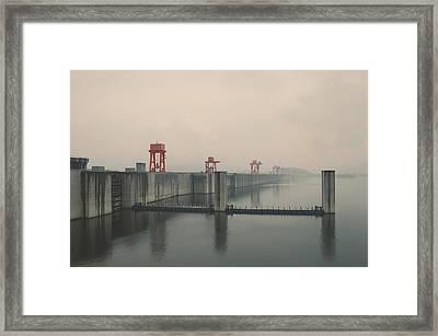 Foggy Three Gorges Dam Framed Print by BONB Creative