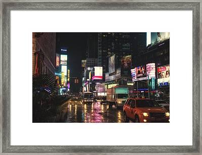 Foggy Wet Times Sq Framed Print