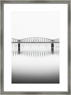 Foggy Winter Mood At Vltava River. Reflection Of Bridges In Water. Black And White Atmosphere, Prague, Czech Republic Framed Print