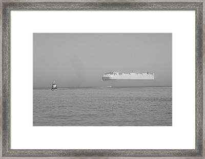 Fogs Floating Barge Framed Print by WaLdEmAr BoRrErO