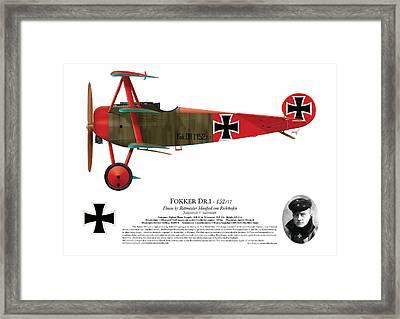 Fokker Dr.1 - 152/17 - March 1918 Framed Print by Ed Jackson