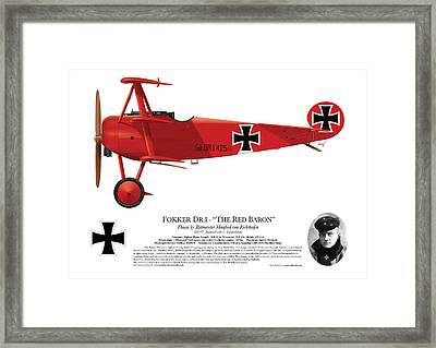 Fokker Dr.1 - The Red Baron - March 1918 Framed Print by Ed Jackson