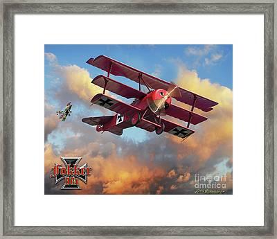 Fokker In A Dog Fight Framed Print by Larry Grossman