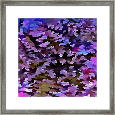 Foliage Abstract In Blue, Pink And Sienna Framed Print