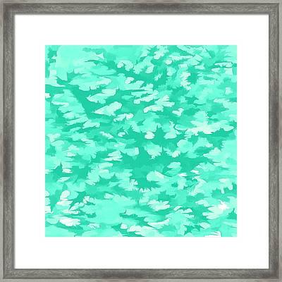 Foliage Abstract  Pop Art Aqua Framed Print