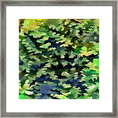 Foliage Abstract Pop Art In Green And Blue Framed Print
