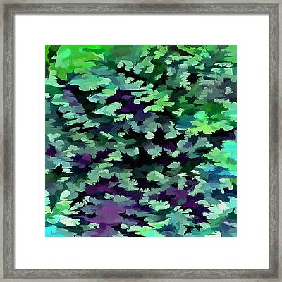 Foliage Abstract Pop Art In Jade Green And Purple Framed Print