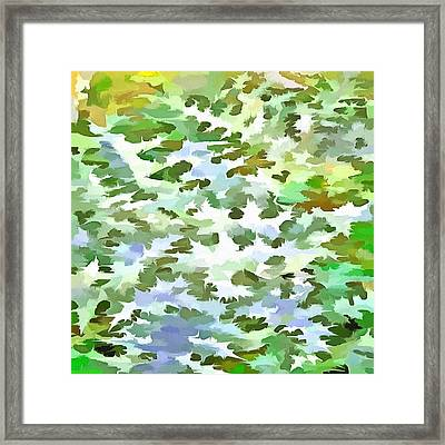 Foliage Abstract Pop Art In White Green And Powder Blue Framed Print