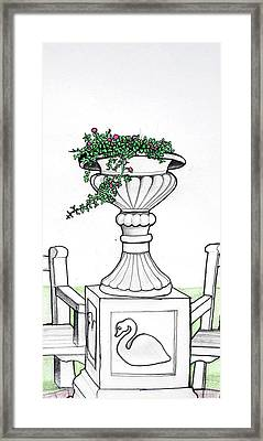 Framed Print featuring the drawing Foliage Fountain by Mary Ellen Frazee