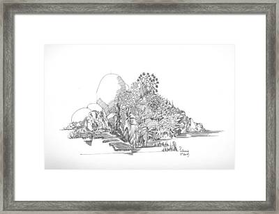 Framed Print featuring the drawing Foliage Trees And Rocks by Padamvir Singh