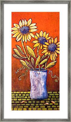 Folk Art Sunflowers Framed Print by Suzanne Theis