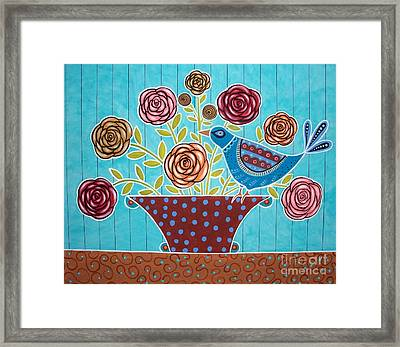 Folk Bird And Flowers Framed Print by Karla Gerard