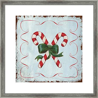 Folk Candy Cane Framed Print by Debbie DeWitt