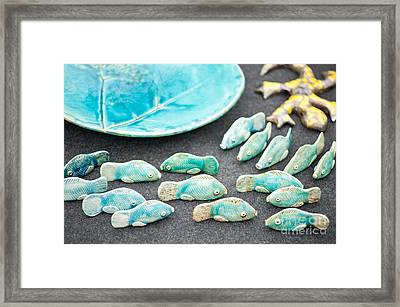 Folk Fish Ceramic Decorations Framed Print by Arletta Cwalina