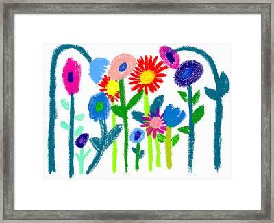 Framed Print featuring the pastel Folk Garden by Bee-Bee Deigner